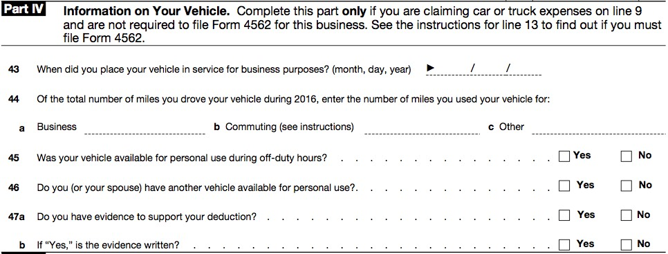 The   The Schedule C Part Iv  Vehicle Information  Form